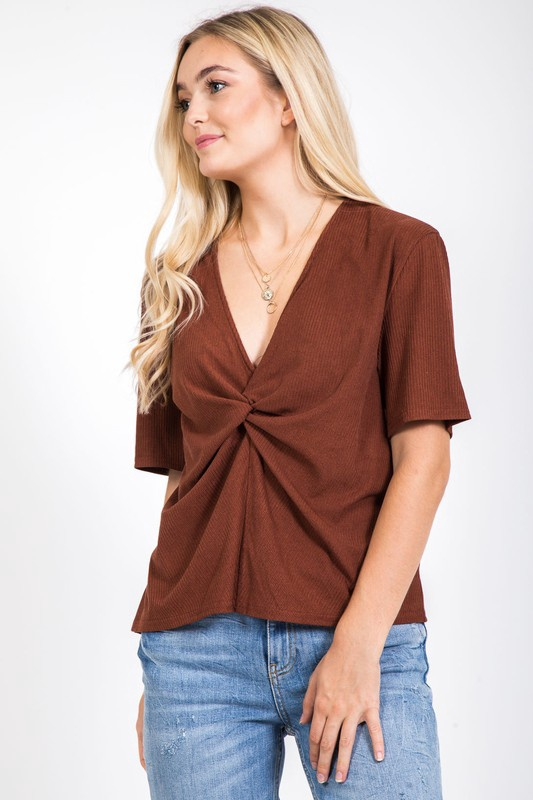 Rust S/S Top w Scrunch Middle