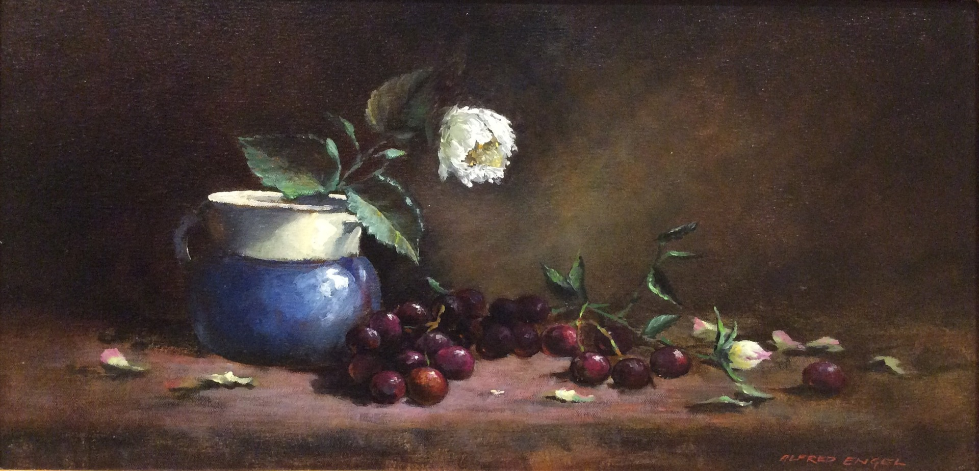 Dark Grapes Oil Painting by Alfred Engel 670mm x 410mm