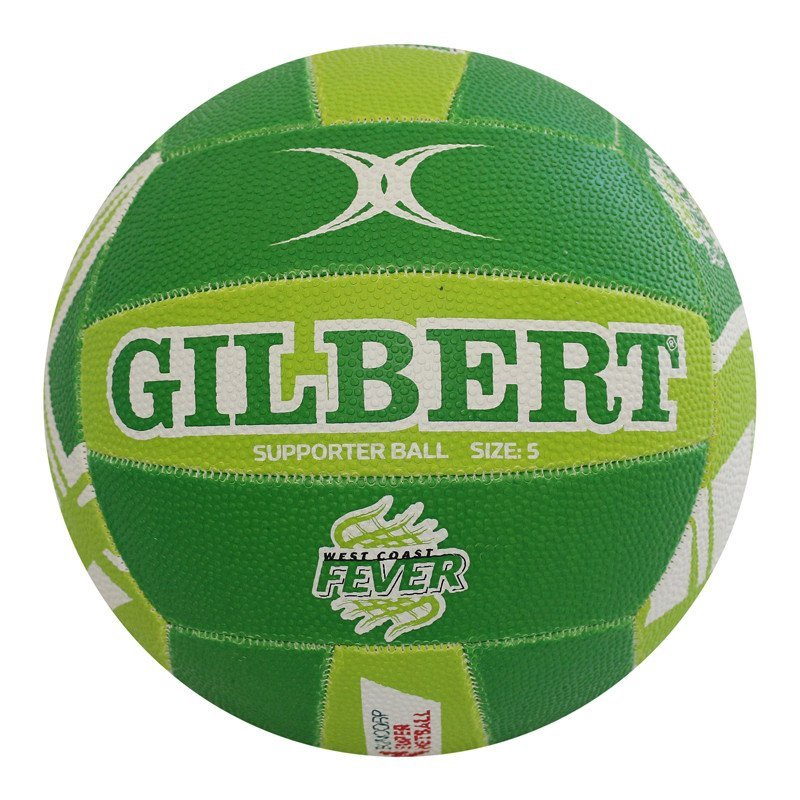 Gilbert Supporter Ball - West Coast Fever Suncorp: Green, White & Lime (size 5)