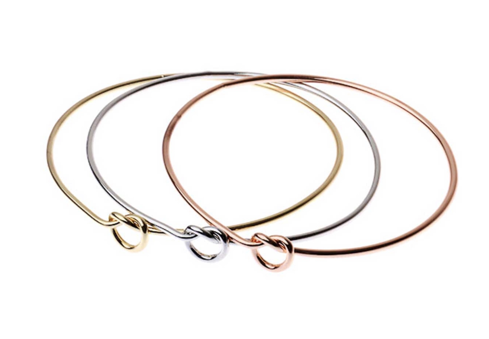 3 Heart bangles in rose gold , gold & silver