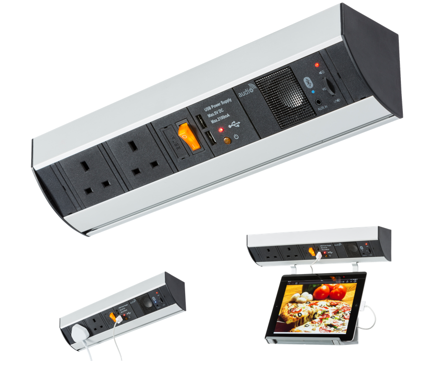 UNDER CABINET 2G POWER STATION WITH USB CHARGING AND BLUETOOTH AUDIO SYSTEM