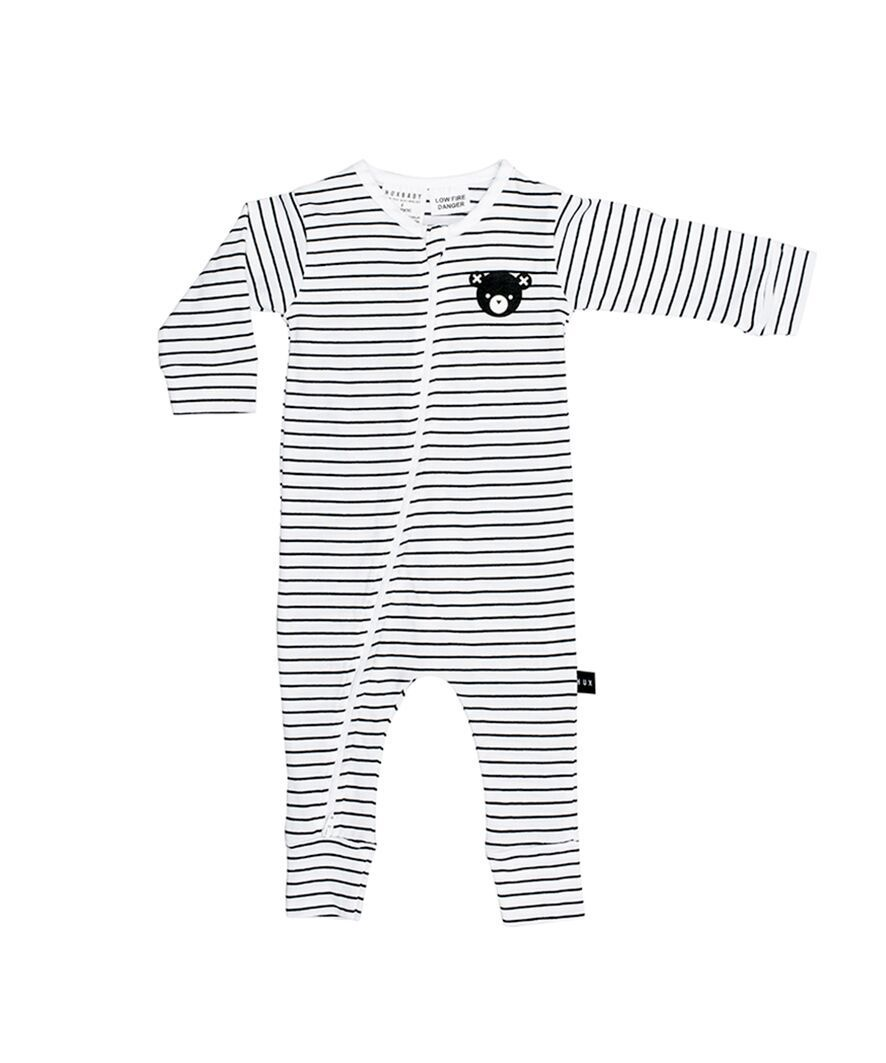 Huxbaby Stripe Zip Romper Black and White