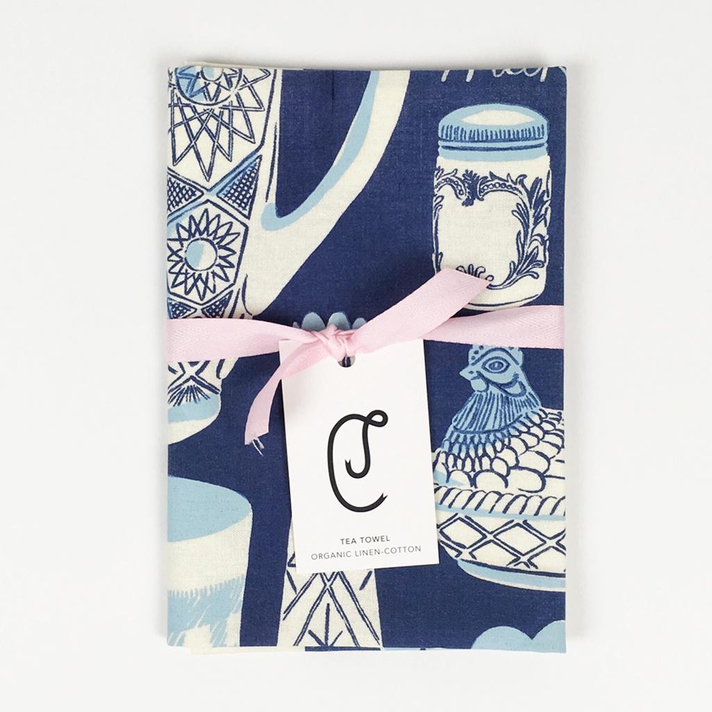 Milk Glass Tea Towel