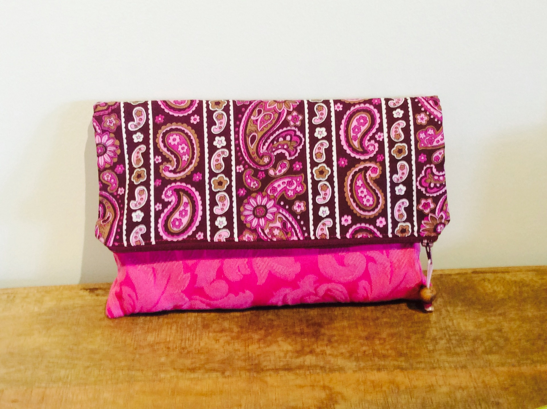 Vintage Paisley Fabric Fold Over Clutch