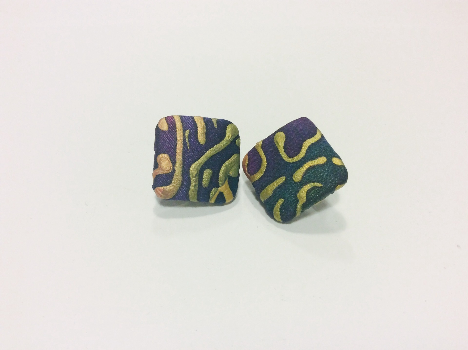 Square purple and green hand painted silk clip on earrings