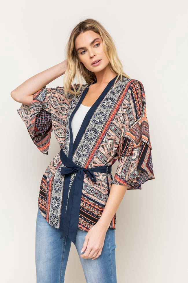 My- Printed Kimono w/ Waist Tie