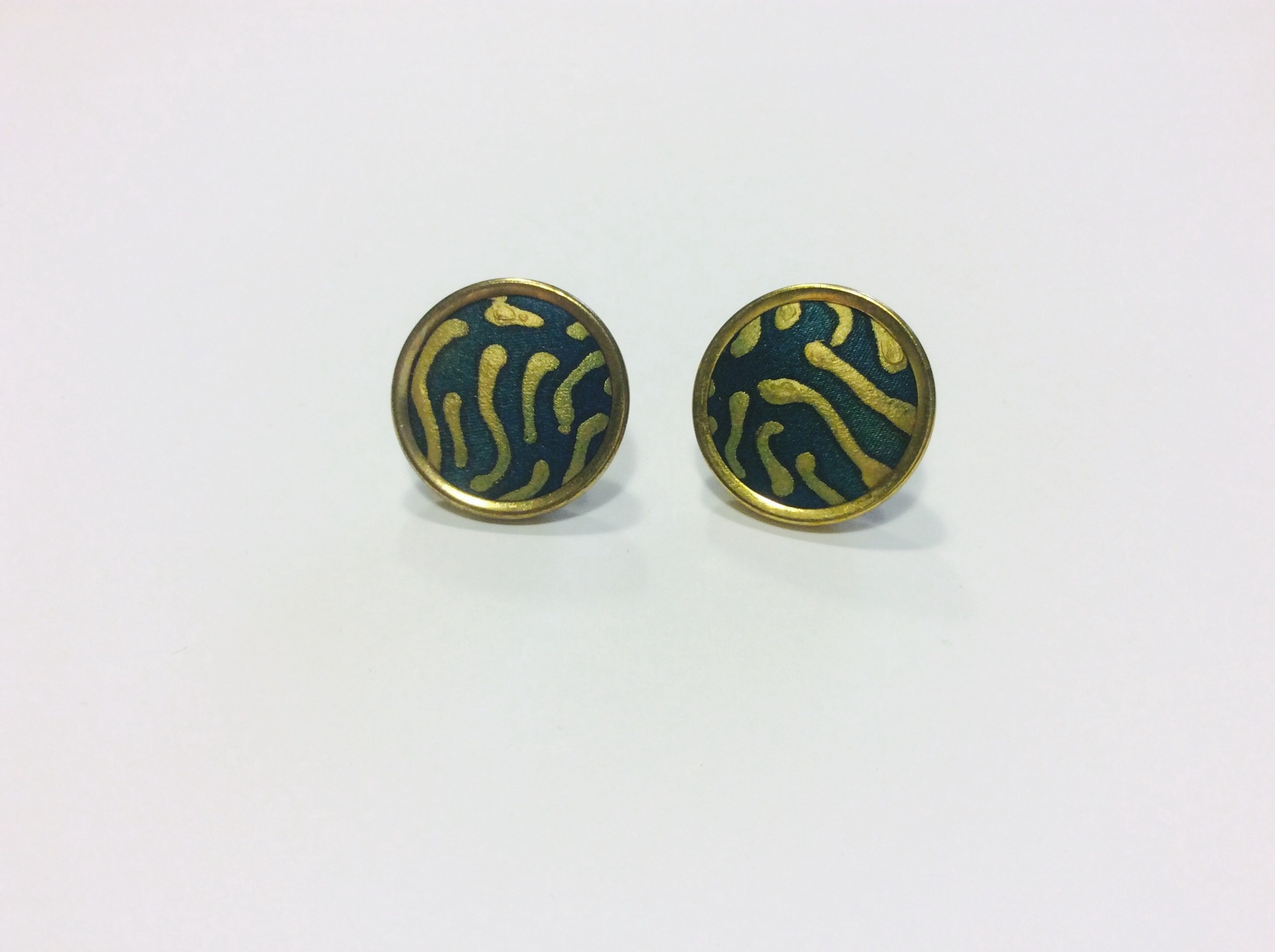 Green and gold round hand painted silk stud earrings with gold trim