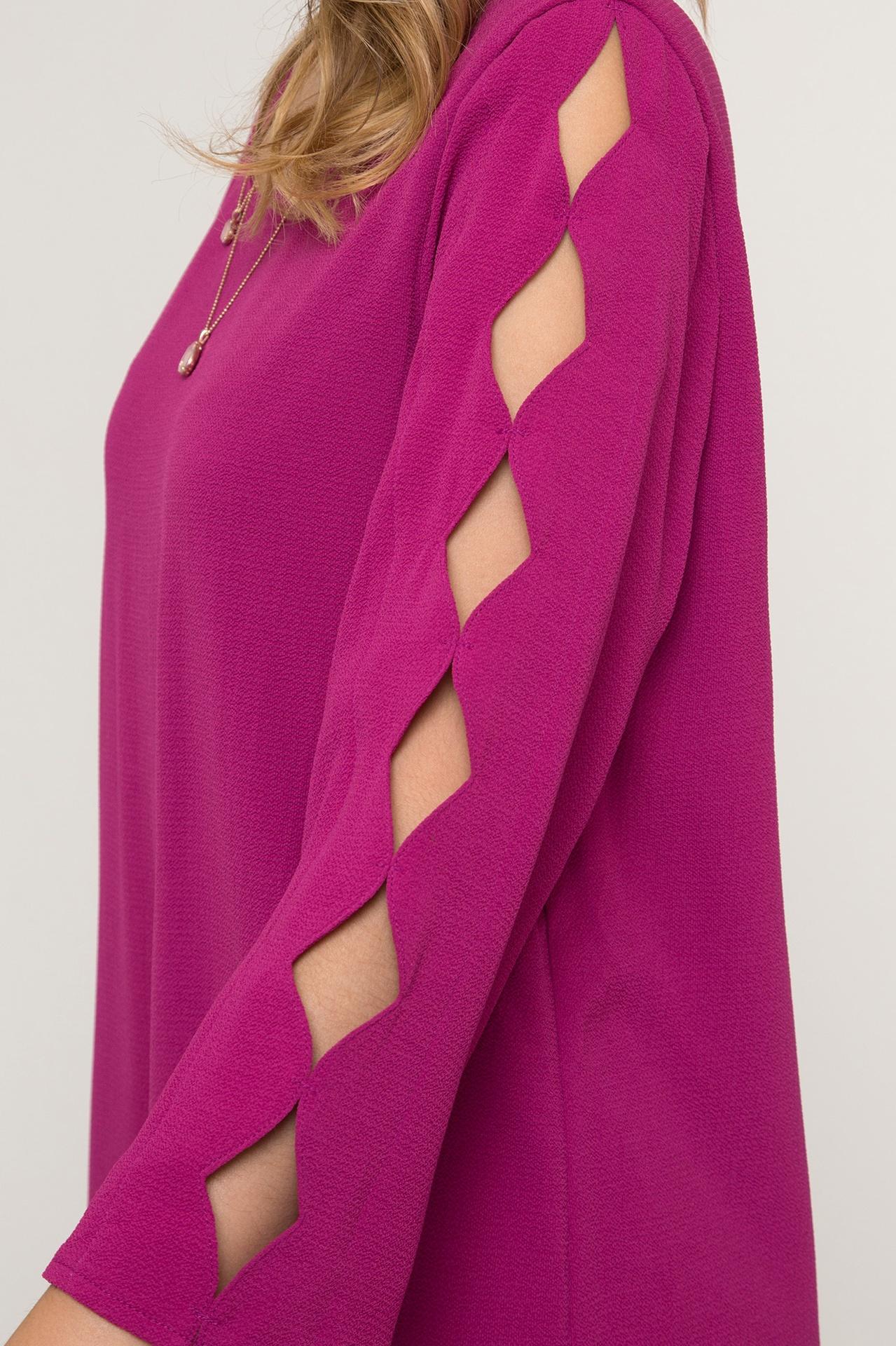 Magenta 3/4 Slv Dress w Scallop Cut Out Slv
