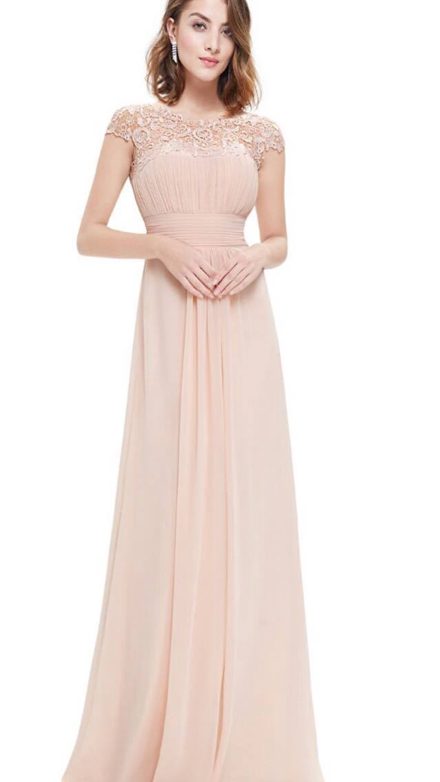 Nude  lace bridesmaids dress
