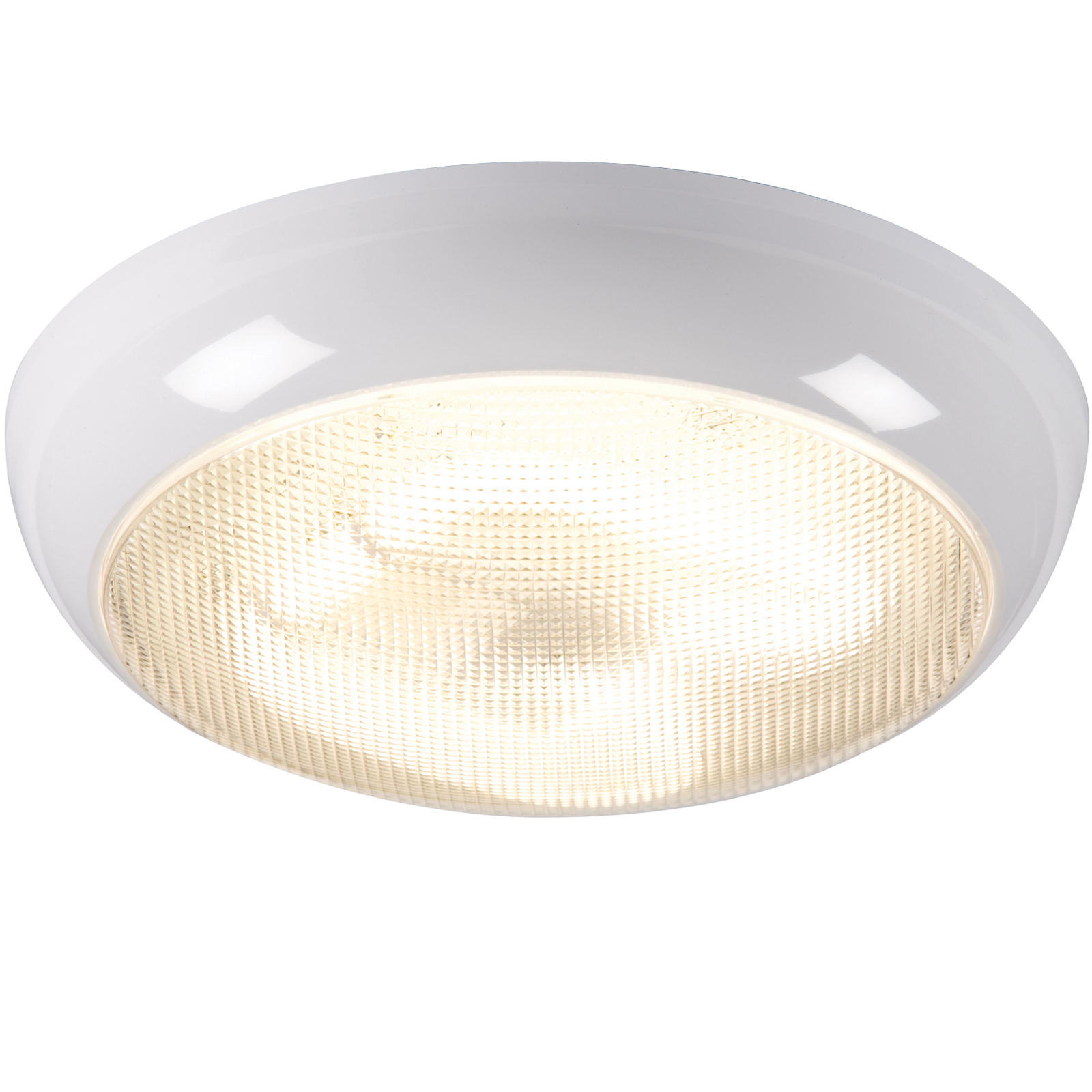 IP44 28W HF Emergency Polo Bulkhead with Prismatic Diffuser and White Base