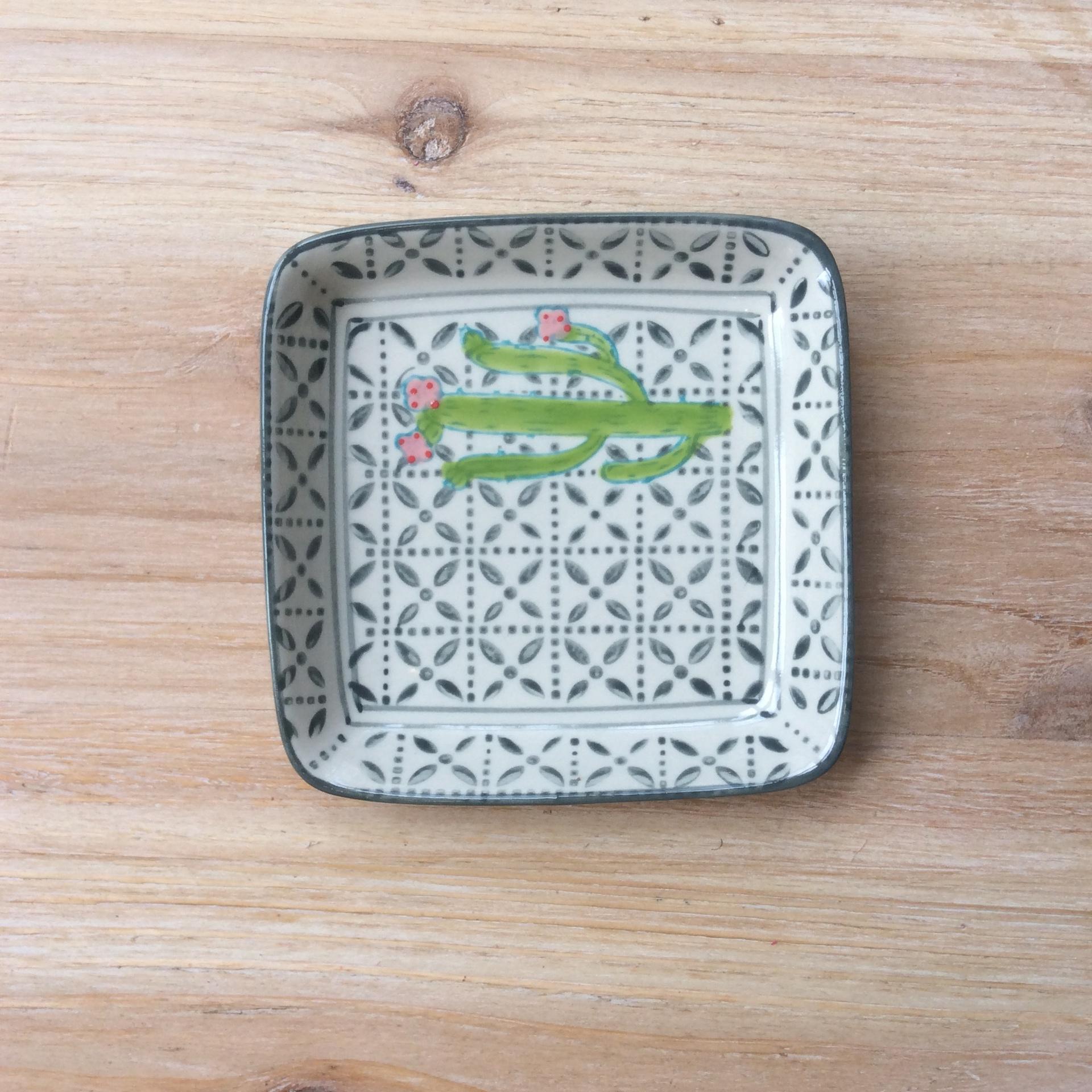 Ceramic Square Cactus Dish