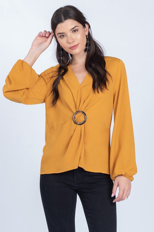 Mustard V Neck Top w/ O Ring Buckle