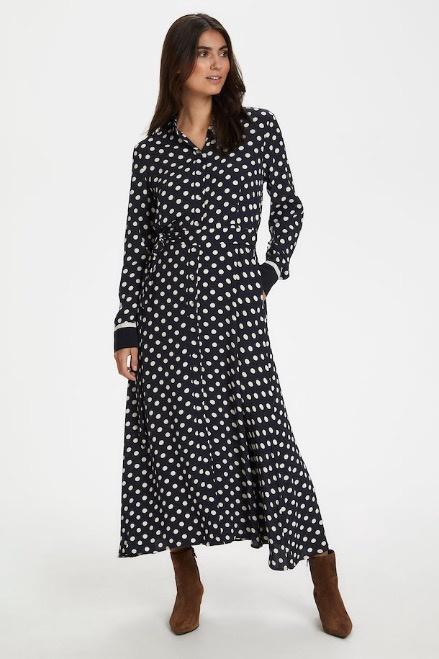 Part Two Bina Dress Dot Print Dark Navy