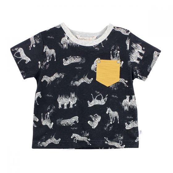 Fox and Finch Safari Print Tee with Yellow Pocket