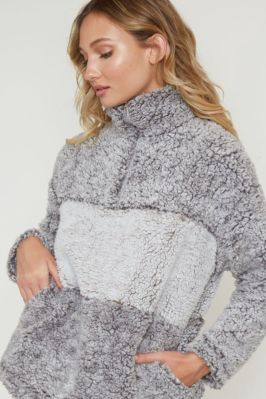 Grey Color Block Sherpa