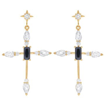Girls Crew Bella Cross Earrings Gold