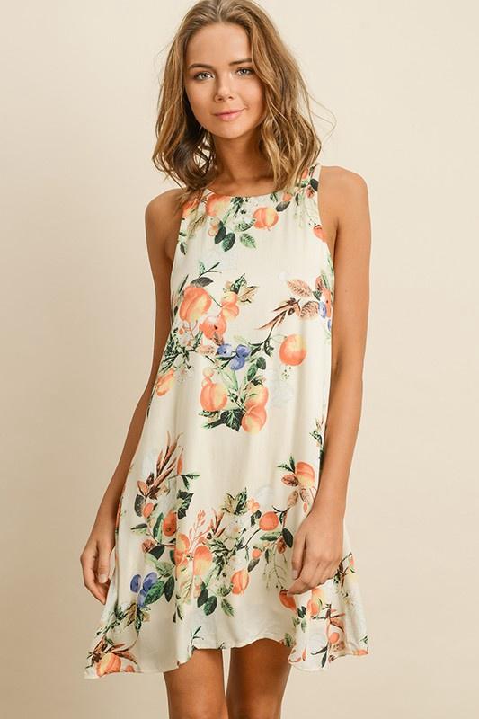 Crm High Neck Peach Pattern Dress
