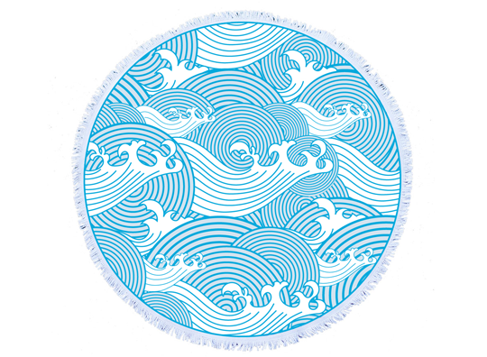 beach bella japanese waves round towel