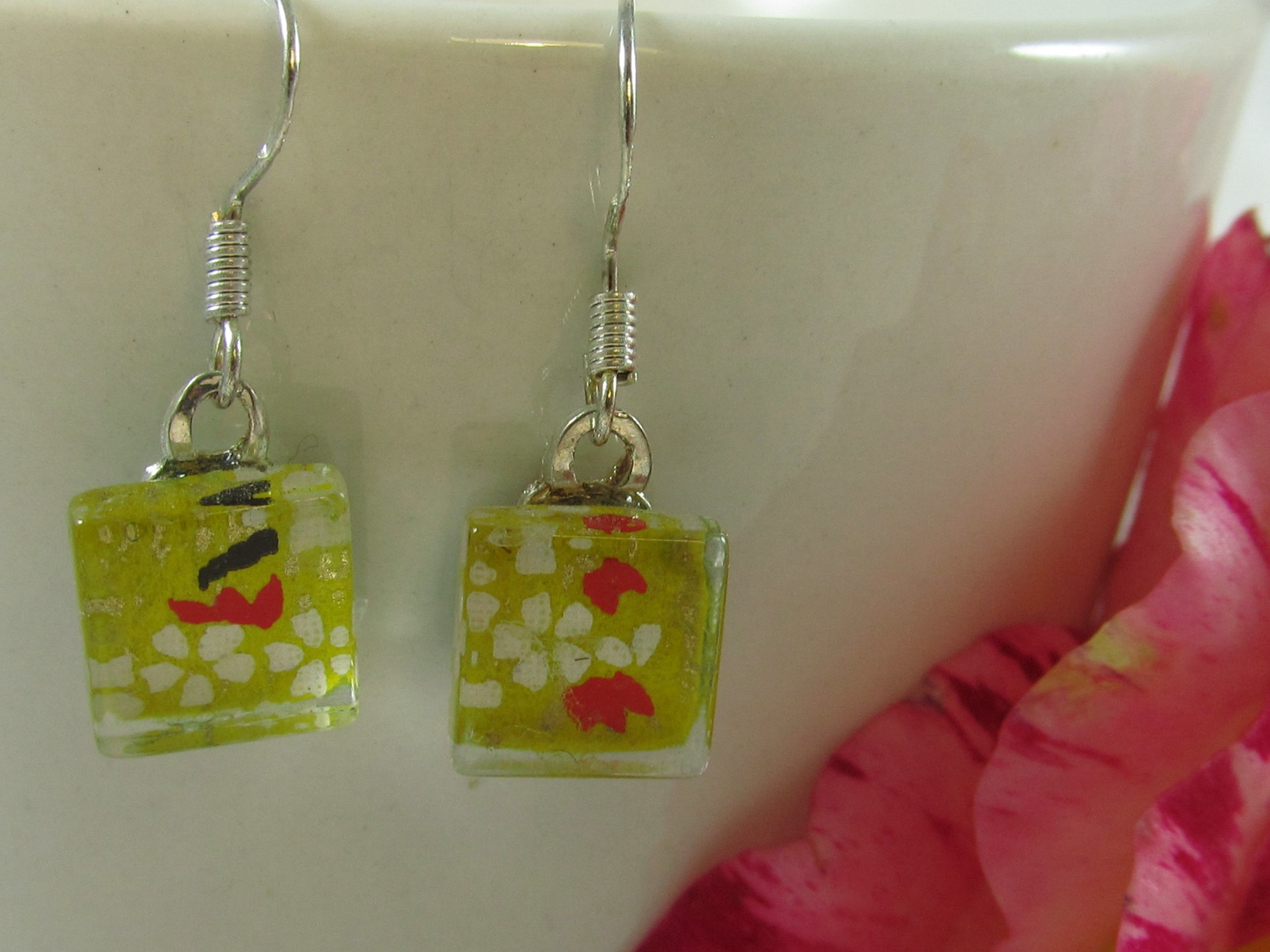 White and Yellow Cherry Blossom Chiyogami Earrings