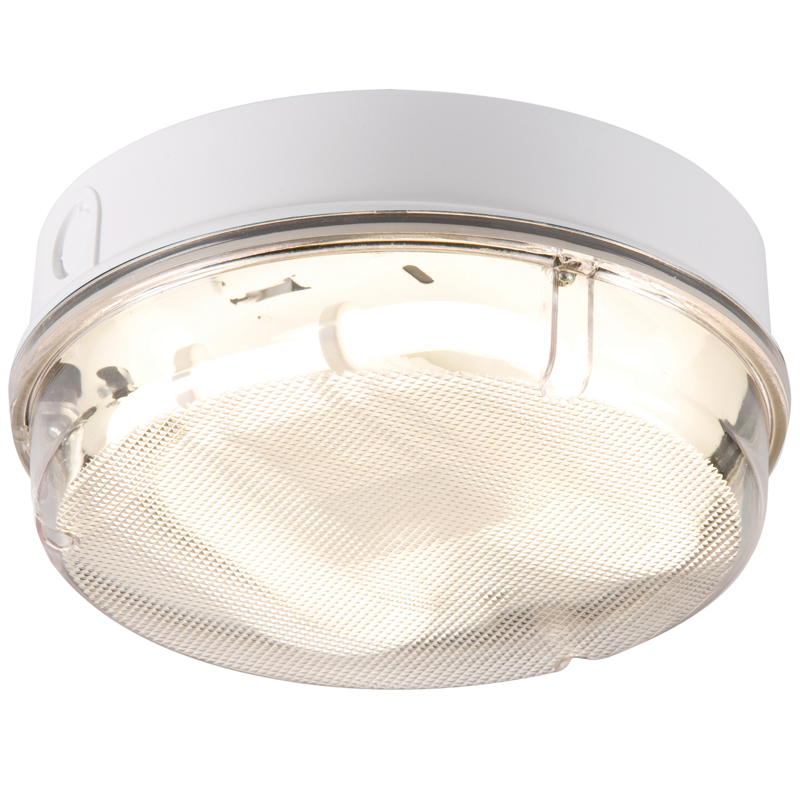 IP65 28W HF Round Emergency Bulkhead with Prismatic Diffuser and White Base