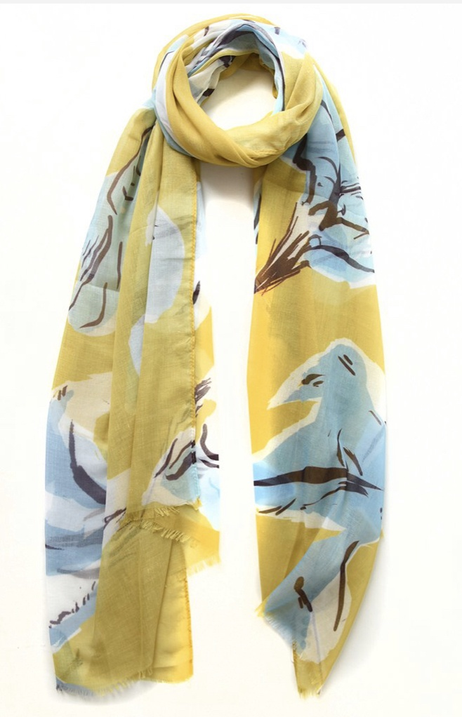 Yellow & Blue Block Floral Print Scarf