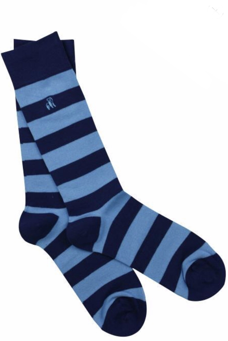 Sky blue stripped bamboo socks