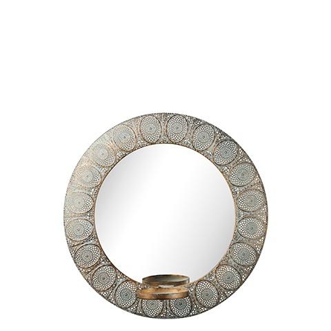 Esmerelda Round Mirror with Candle Holder