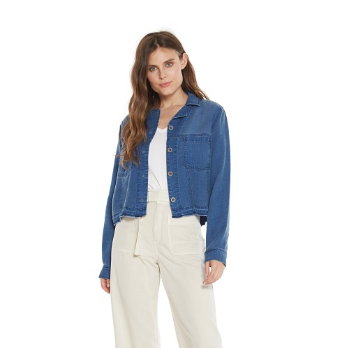 Crop Tucker Jacket | Blue Frost