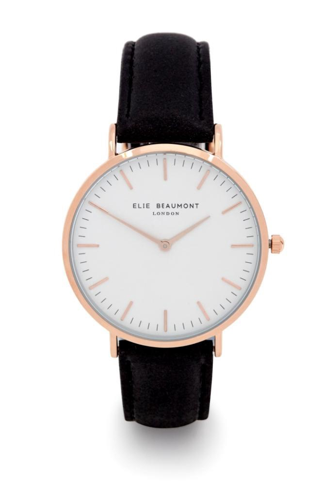 Elie Beaumont Watch Small Leather Black
