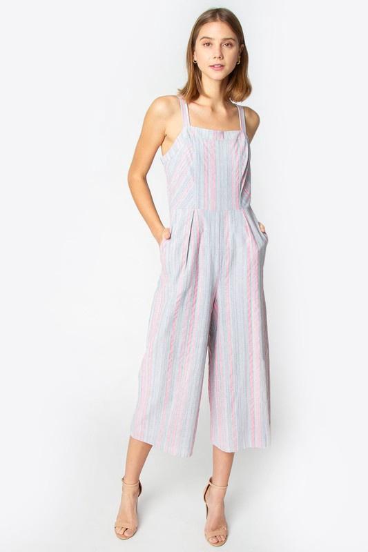 Neon Pink/Grey Stripe Jumpsuit