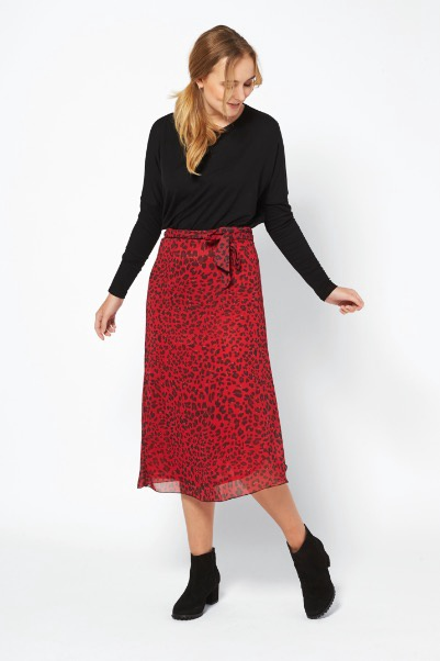 Ilse Jacobsen Skirt Deep Red Leopard Print
