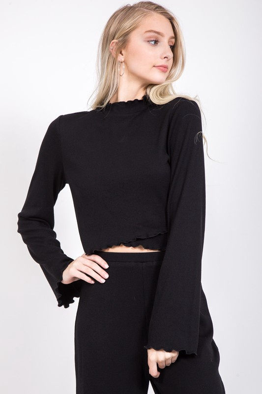 Blk Bell Slv Ribbed Mock Neck Top