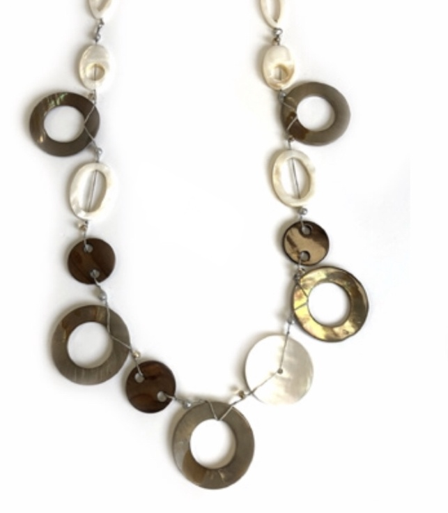 Hoop & button earth tone long necklace