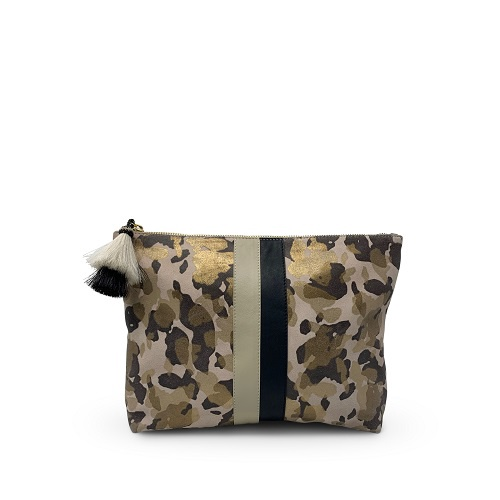 Blush Camo Suede Medium Pouch