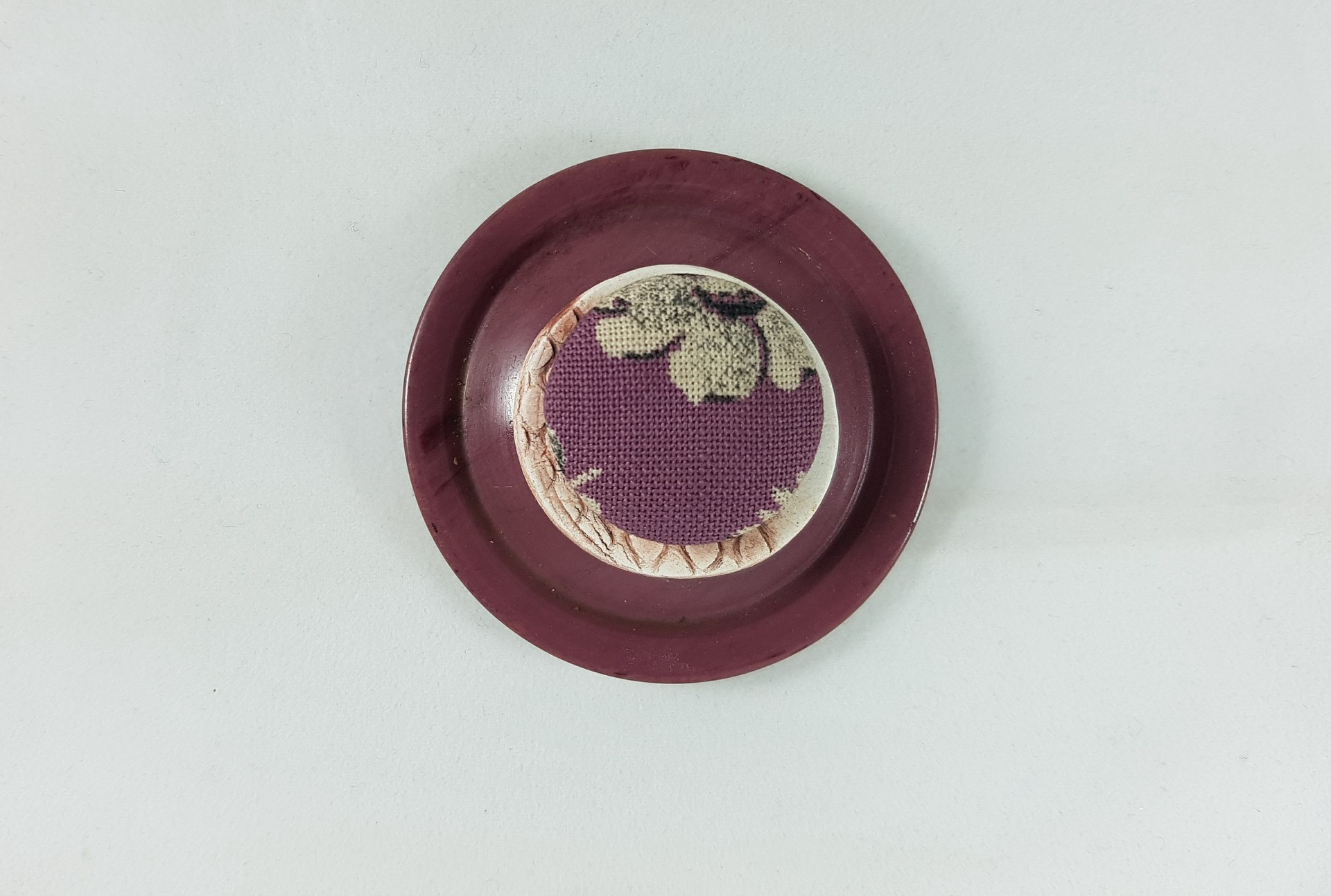 Vintage Round Button and Ceramic Button Brooch