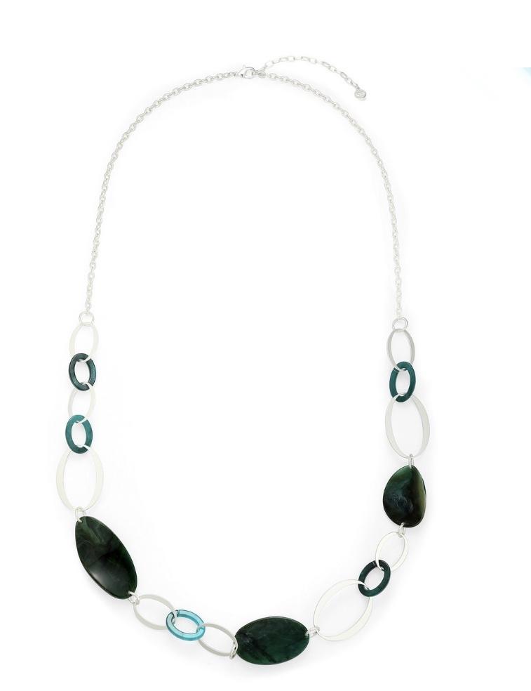 Green & silver pebble long necklace