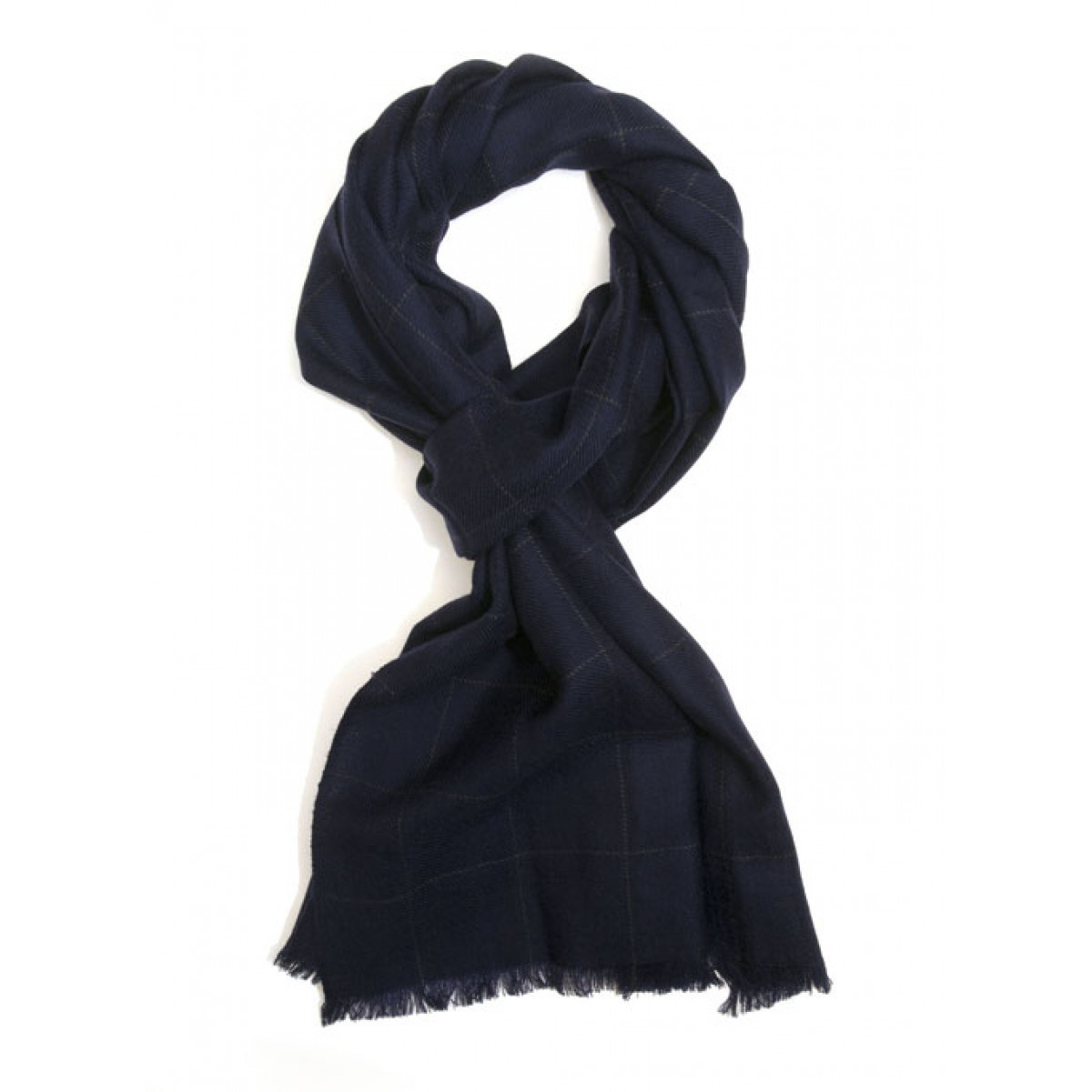 Parc City Boot Co. - Micro Wool Scarf in Navy Windowpane Check