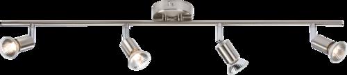 230V GU10 Quad Bar Spotlight - Brushed Chrome