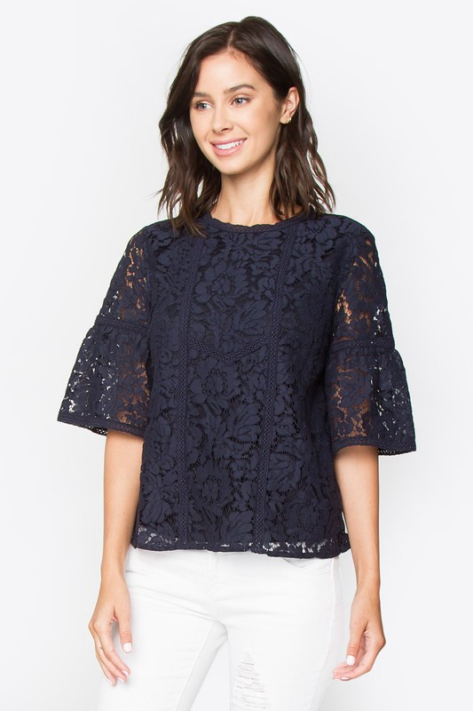 Navy Lace S/S  Top