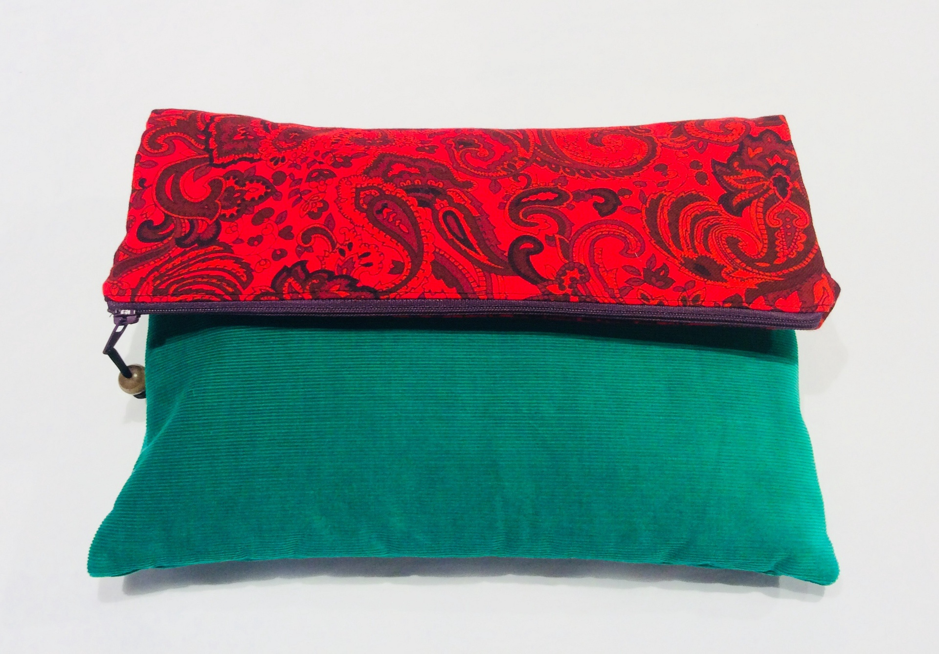 Funky Vintage Fabric Fold Over Clutch - Red Paisley and green