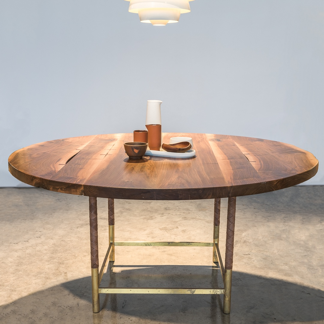 Laura Bergsøe   Round Dining Table / European Walnut / Rosewood / Brass /  Leather