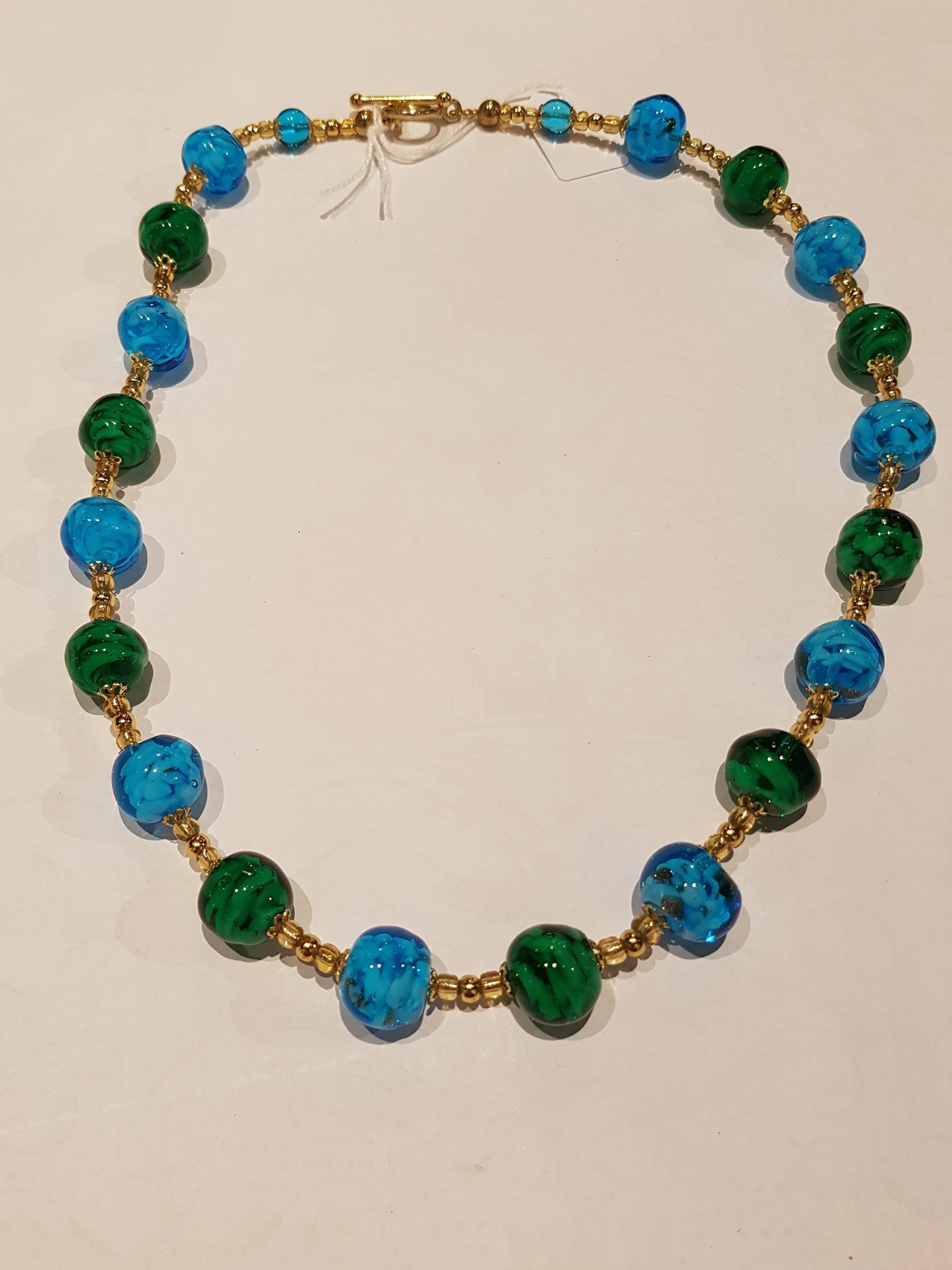 Blue and Green Venetian Glass Necklace