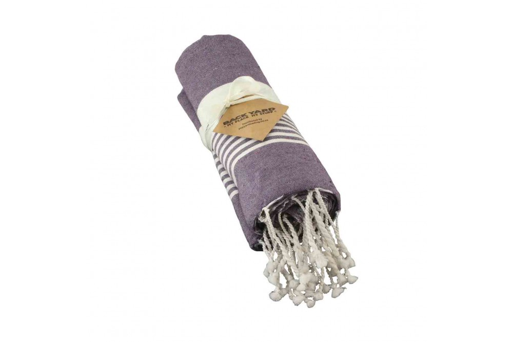 Cotton Towel Violet thin striped band