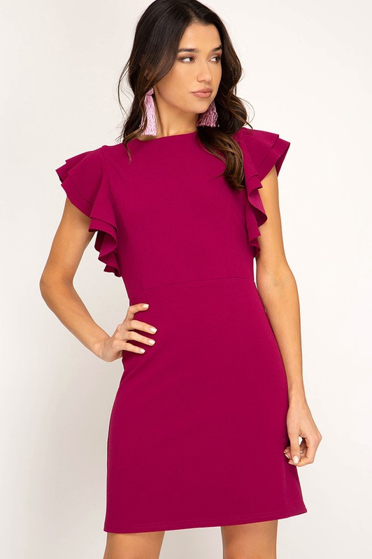 Magenta Fitted High Neck Dress w Ruffles on Slvs