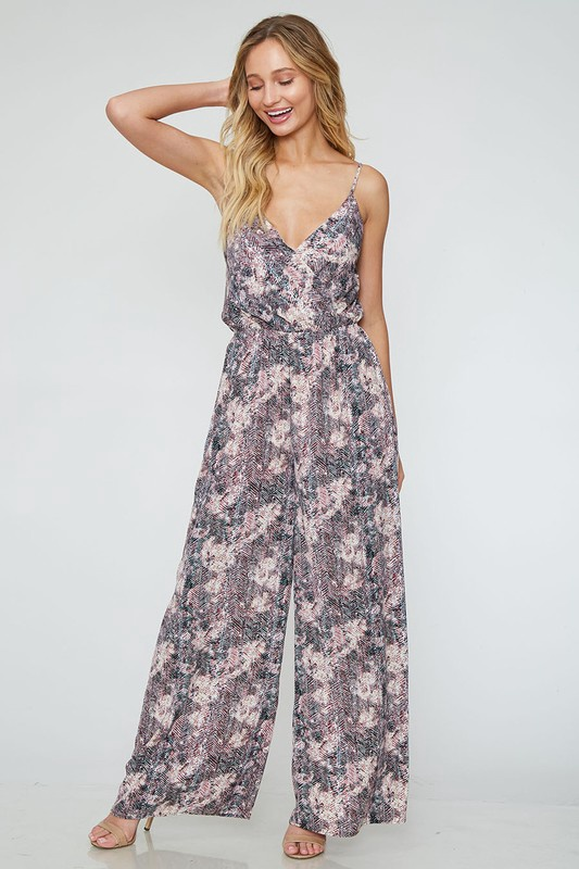 Plum/Crm Abstract Pattern S/Less Jumpsuit