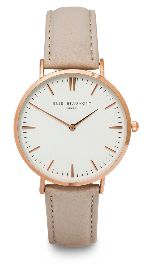 Elie Beaumont Watch Large Leather Grey