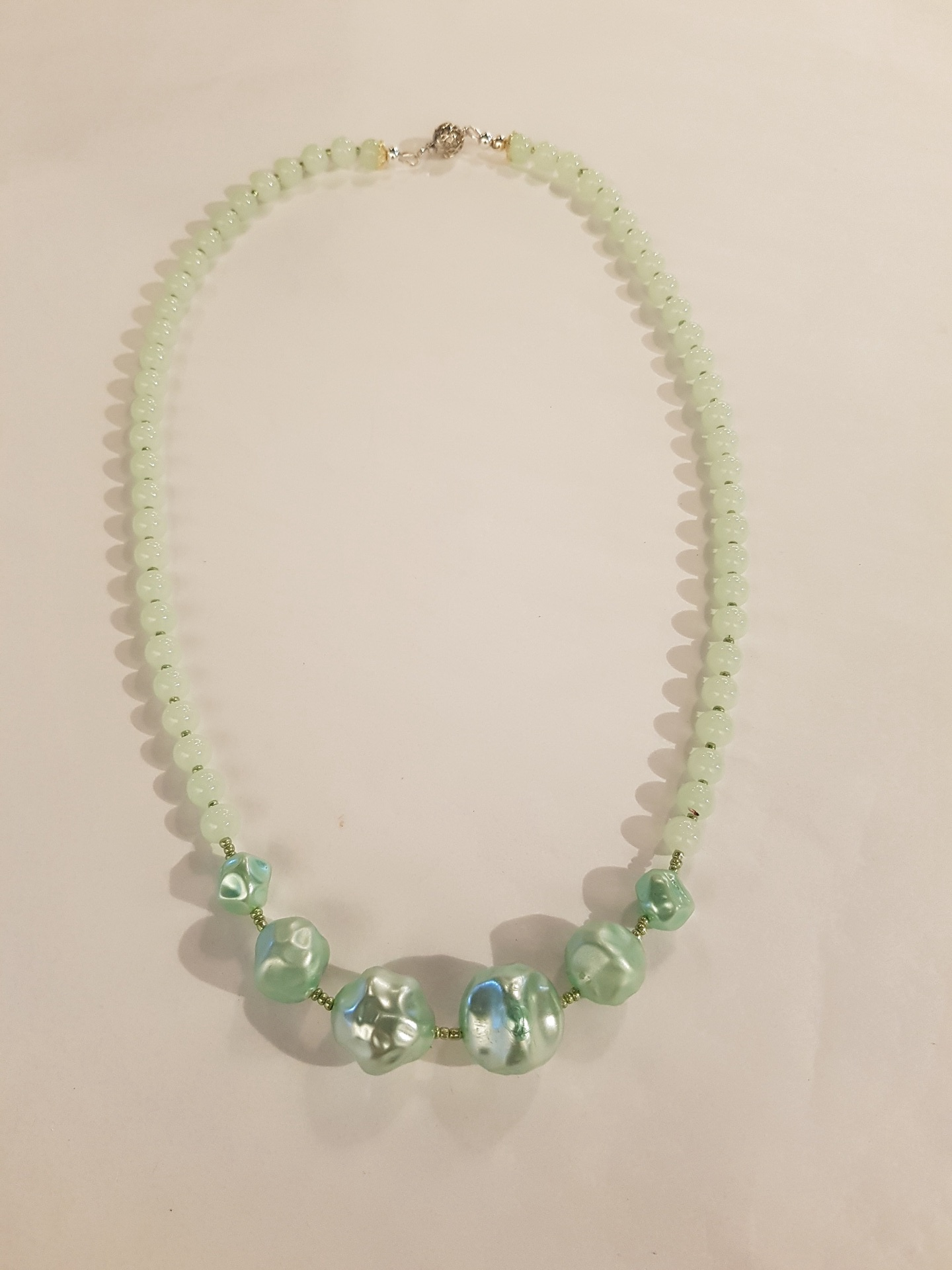 Vintage Ice Green Beaded Necklace