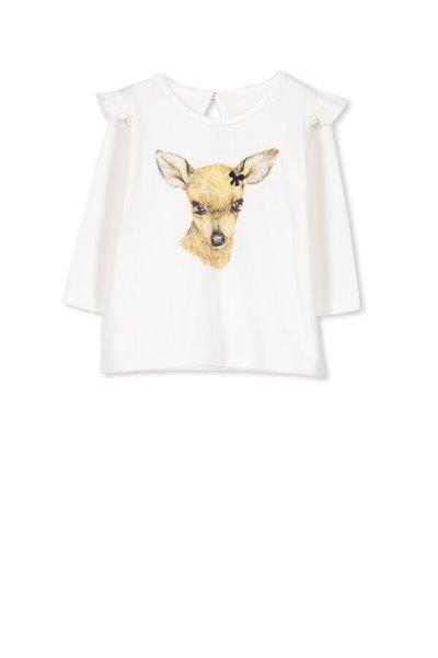 Milky Deer LS Tee Off White