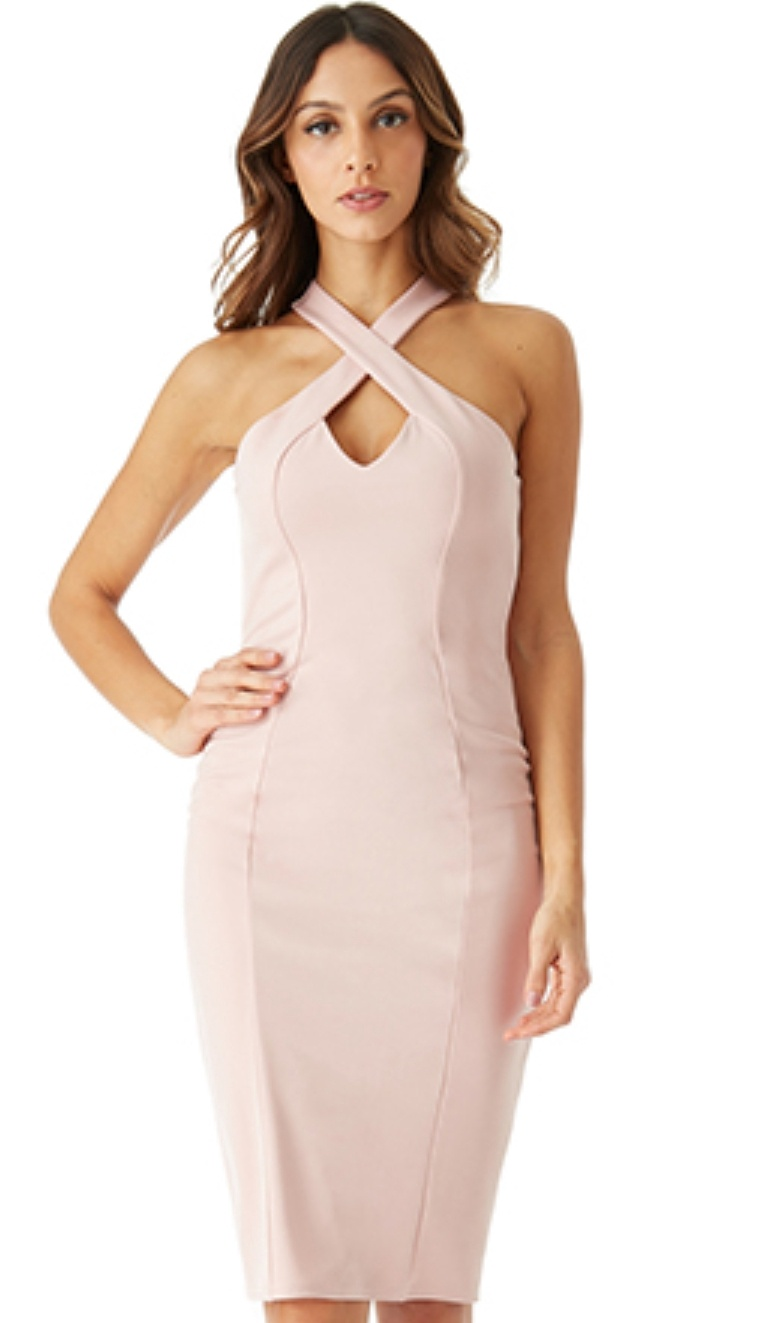 Short Dress - Blush Pink Criss-Cross Neckline Midi Dress, NEW