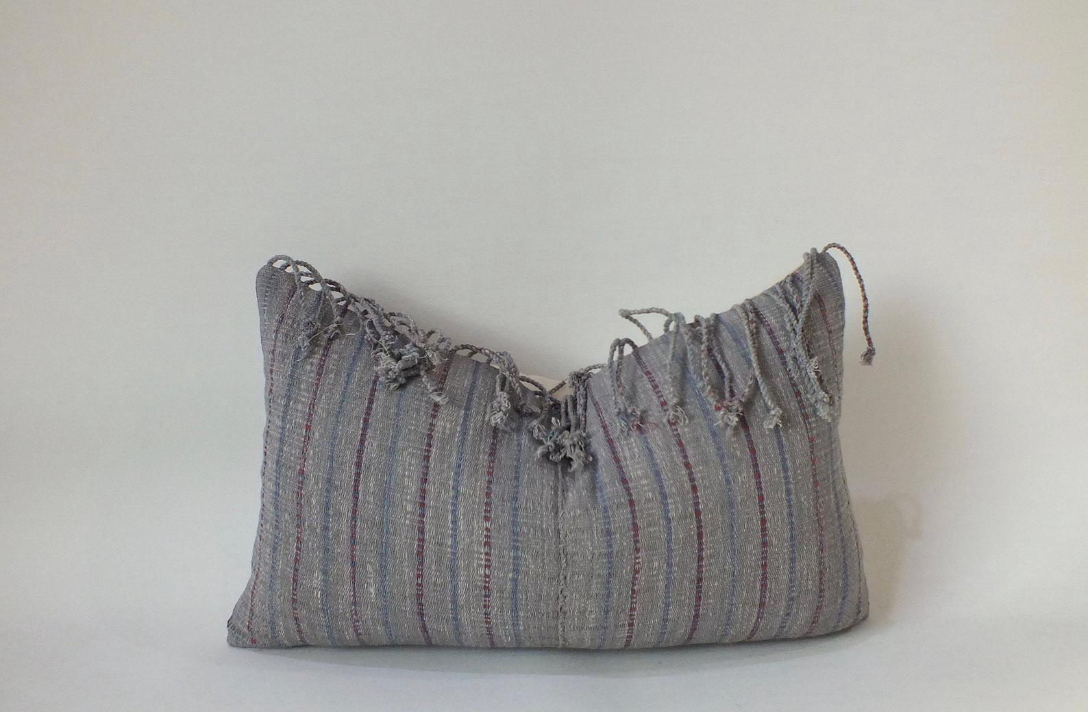 Stripe Fringe Lumbar Pillow